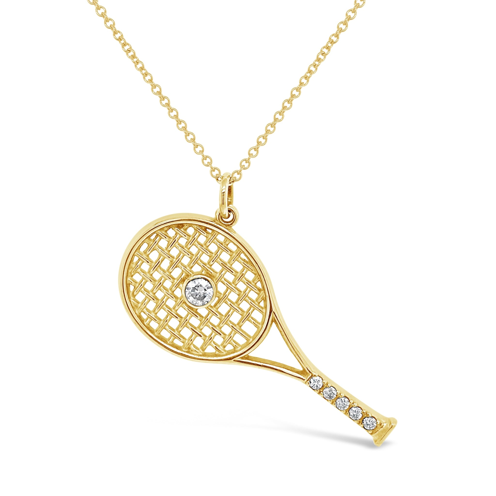 Diamond Tennis Racquet Pendant
