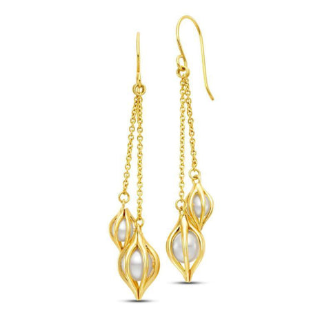 Cestino Tulip Double Drop Pearl Earrings
