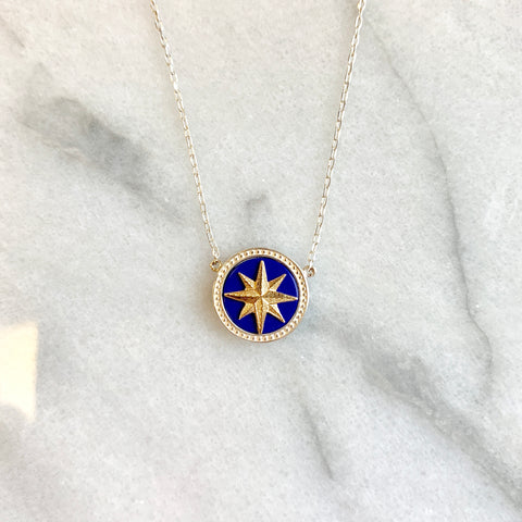 Silver & Gold Lapis Compass Necklace