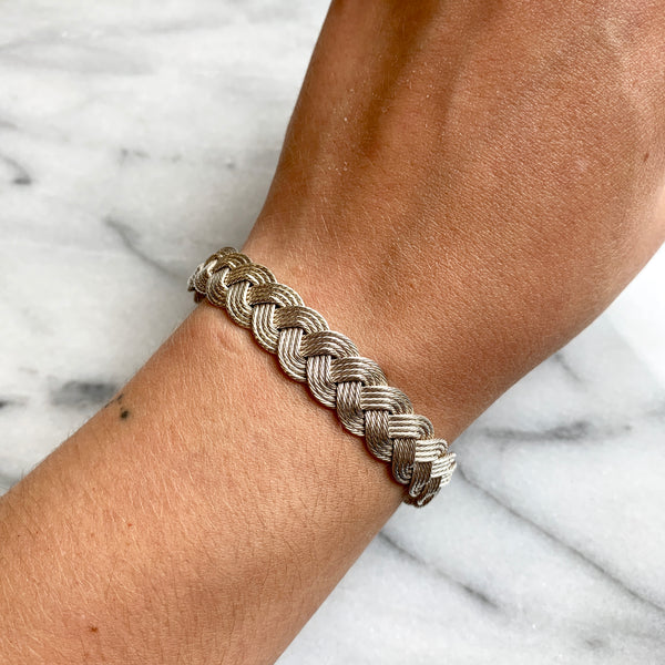 Silver 4-Cable Braid Bracelet
