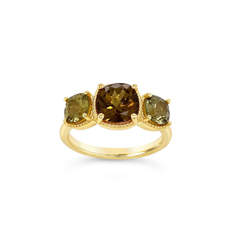 Grandite Garnet Three-Stone Ring