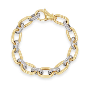 Yellow & White Gold Diamond Link Bracelet