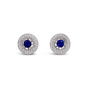 Blue Sapphire & Diamond Jacket Earrings