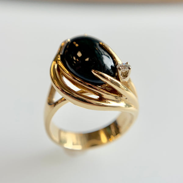 Black Nephrite & Diamond Ring