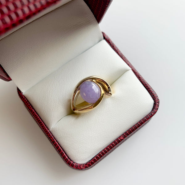 Freeform Two-Tone Lavender Jade Ring