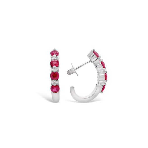 "Ruby & Diamond ""J-Hoop"" Earrings"
