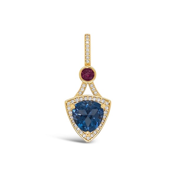 Blue Topaz, Pink Tourmaline & Diamond Slide Pendant
