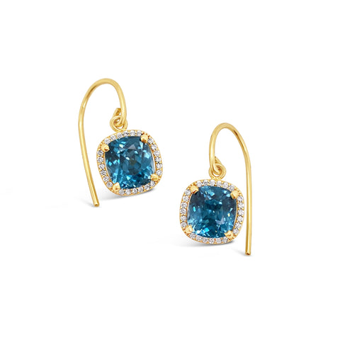 Blue Zircon & Diamond Earrings