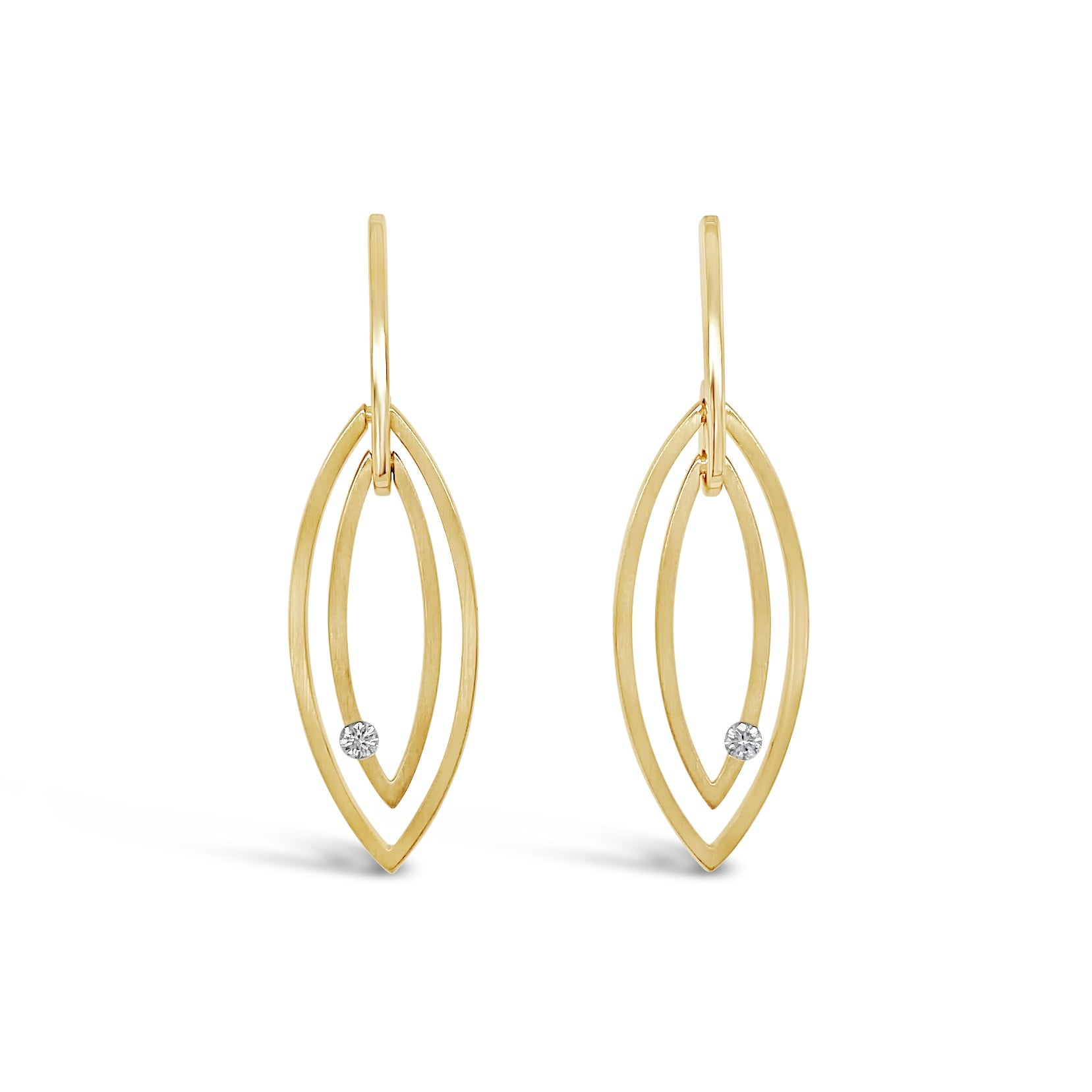 Double Drop Gold & Diamond Earrings