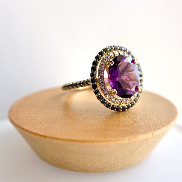 Amethyst & Blue Topaz Double Halo Ring