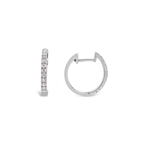 White Gold Thin Diamond Hoop Earrings