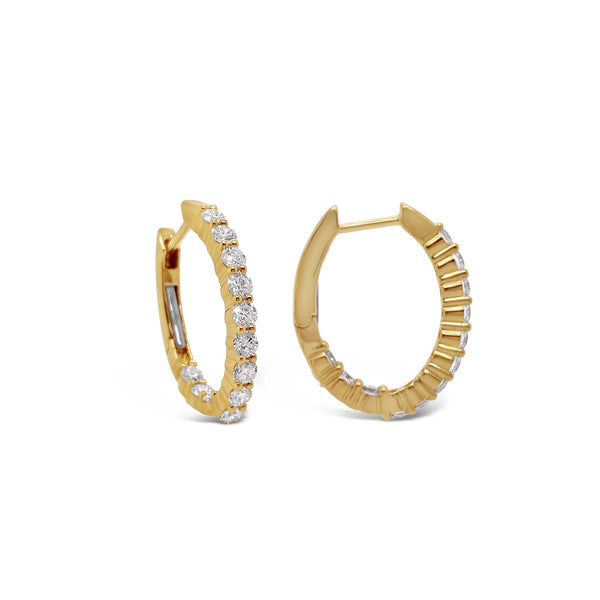 Diamond Oval Inside-Out Hoops