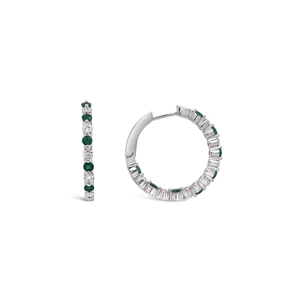 Thin Emerald & Diamond Hoop Earrings