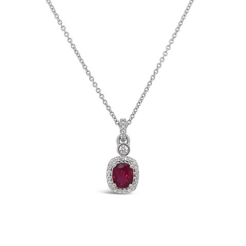 Antique Cushion Ruby & Diamond Necklace