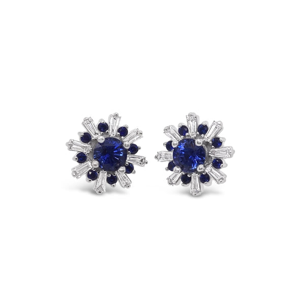 "Sapphire & Diamond ""Snowflake"" Earrings"