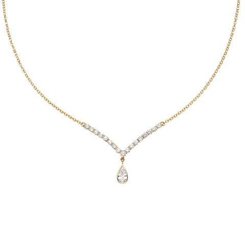 "Diamond ""V"" Necklace with Pear Diamond Drop"