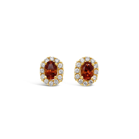 Spessartite Garnet & Diamond Stud Earrings