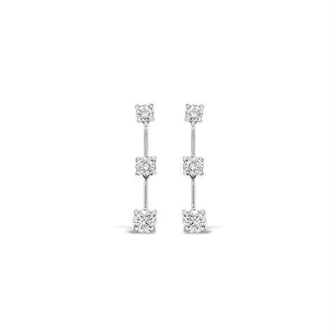 Three Diamond Line Earrings