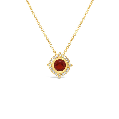 Orange Fire Opal & Diamond Pendant