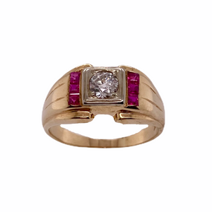 Two-Tone Men's Diamond & Synthetic Ruby Ring
