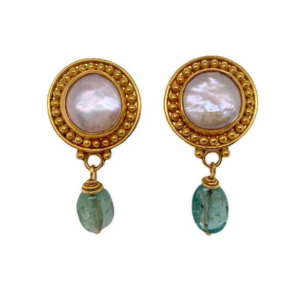 22k Mother-of-Pearl & Green Beryl Drop Earrings