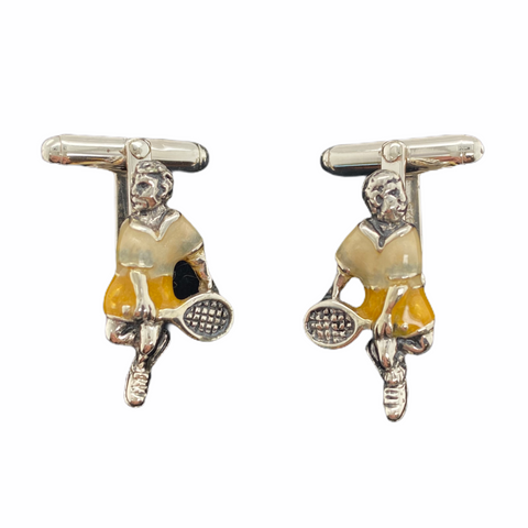 Enamel Tennis Player Cuff Links