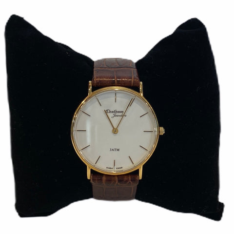 14k Yellow Gold Men's Ultra-Thin Strap Watch