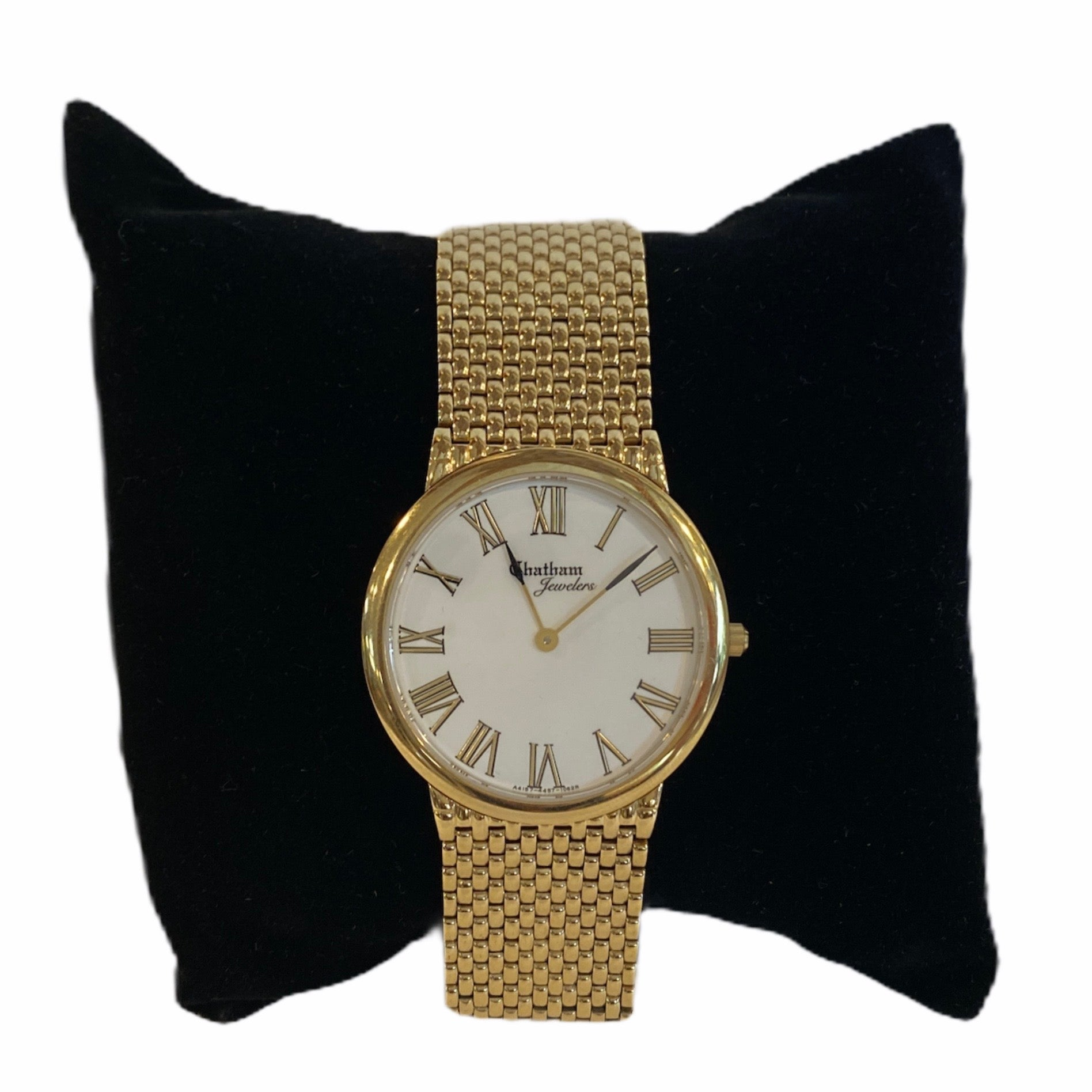 Gold-tone Stainless Steel Unisex Ultra-Thin Link Bracelet Watch