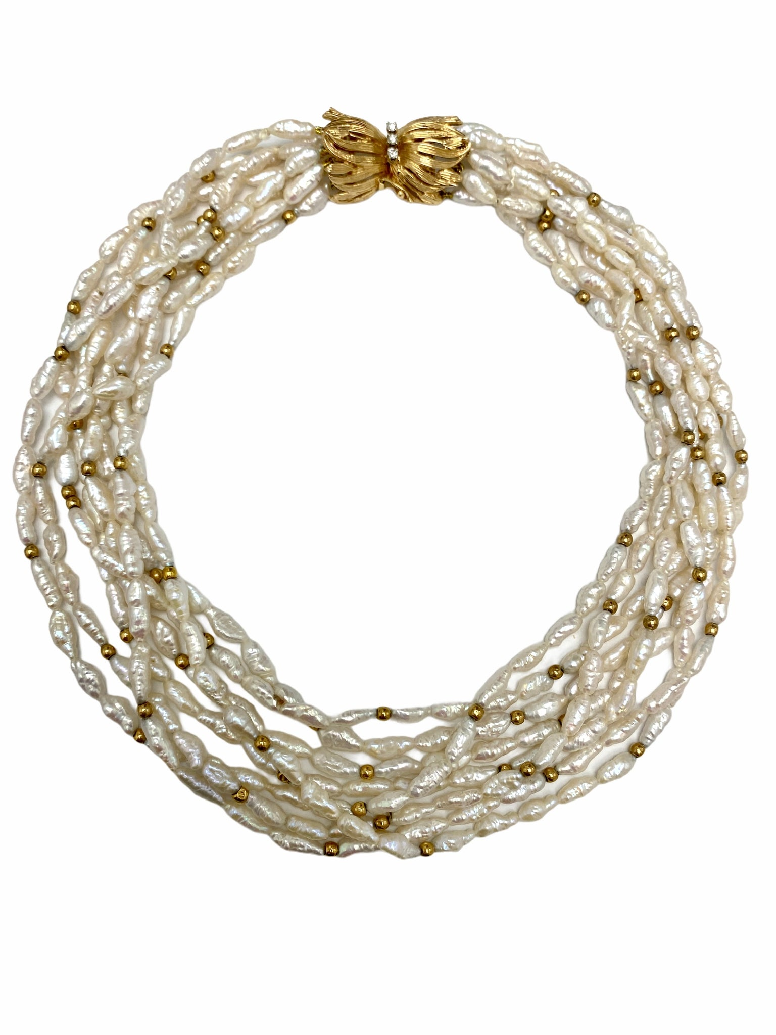 8-Strand Biwa Pearl Necklace