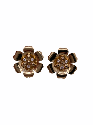 Diamond Flower Screwback Earrings