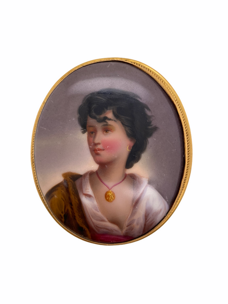 Painted Ceramic Portrait Brooch