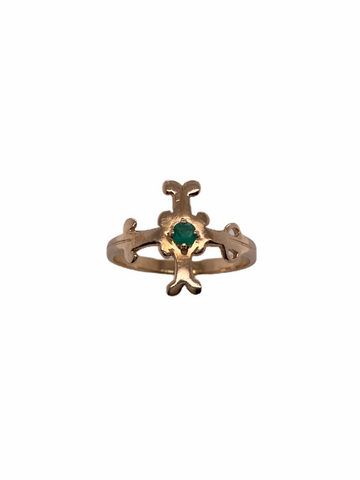 Emerald Cross Ring