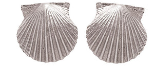 Medium Silver Scallop Shell Stud Earrings