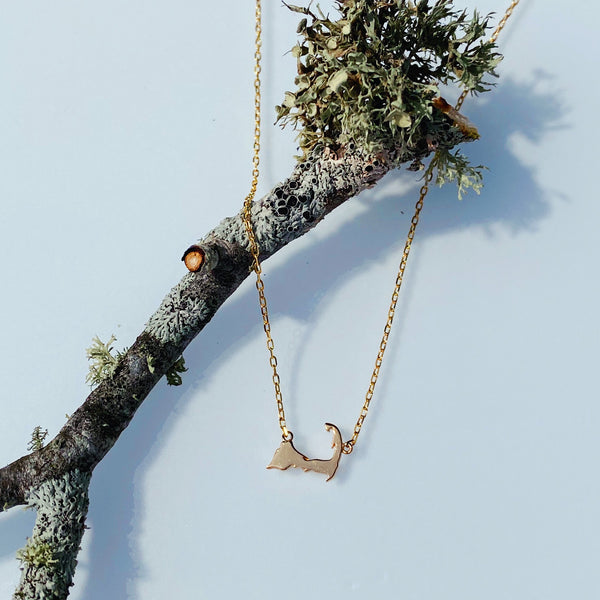 Tiny Cape Cod Map Necklace