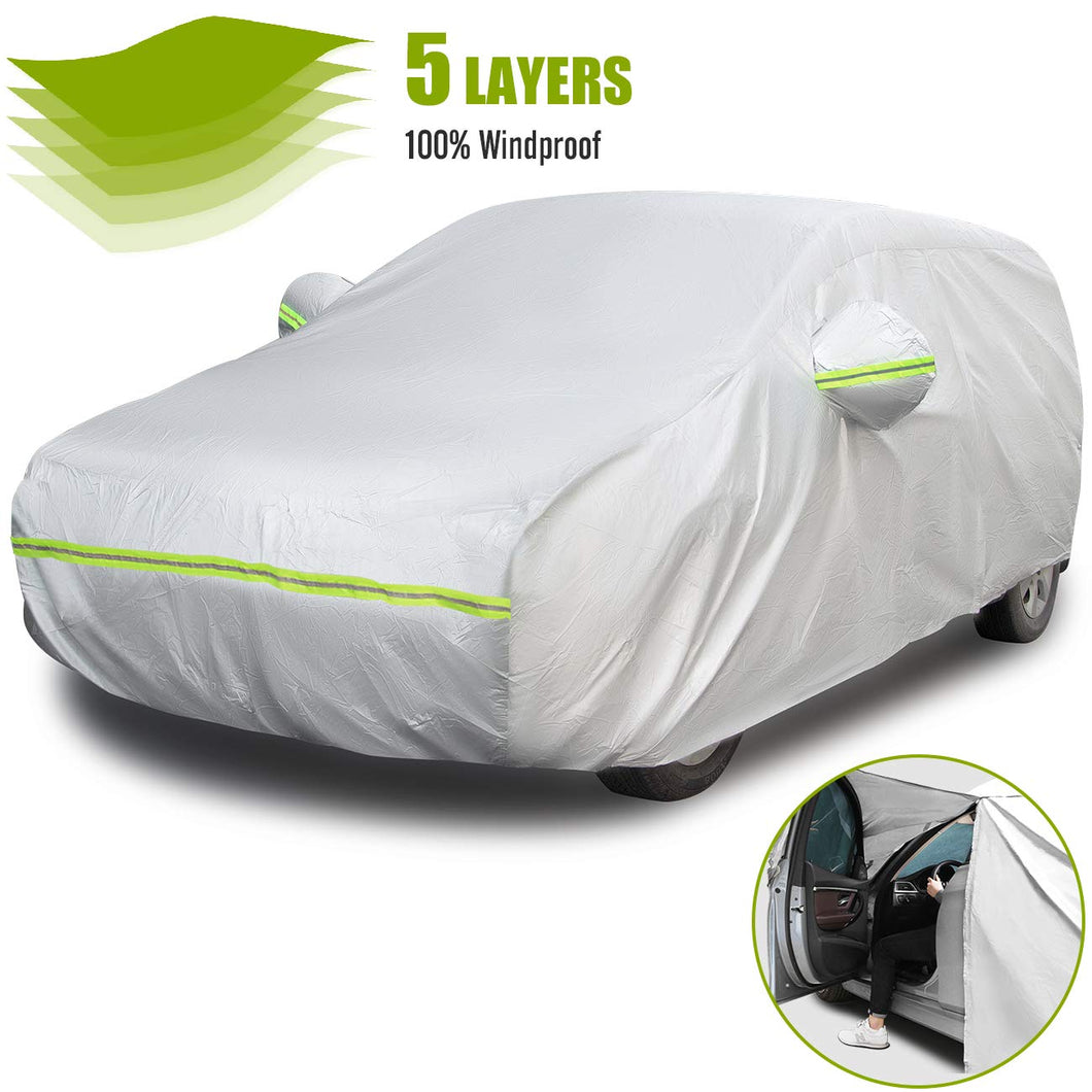 Favoto Hatchback Car Cover 5 Layers Universal Fit 146 to 157 inch