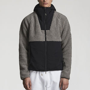Casual Colorblock Zipper Plush Men's Jacket