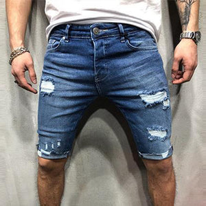 Casual Tattered Hole Slim Denim   Shorts