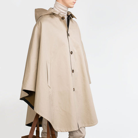 Designed with solid color button hooded trench coat