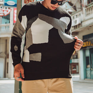 Men'S Round-Neck Spell Color Knitted Sweater.