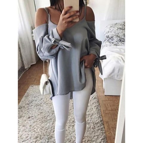 Summer Sexy Sling Chiffon V-Neck Loose Long Sleeve Shirt
