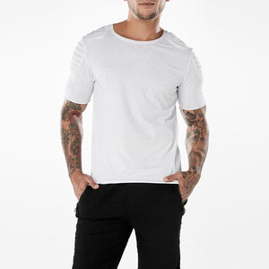 Basic Men's Shoulder Pleated Panel T-Shirt