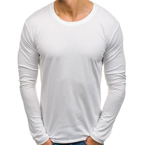 Fashion Youth Casual Sport Loose Plain Round Neck Long Sleeve Top