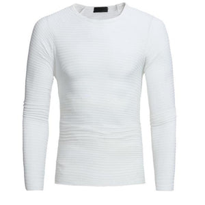 Fashion Youth Casual Slim Plain Round Neck Long Sleeve Top
