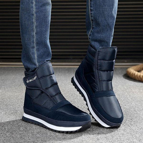 Men Plush Lining Waterproof Hook Loop Snow Boots