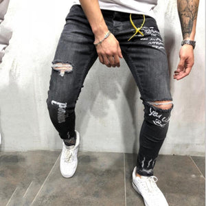 Stretch Hole Print Gray Jeans