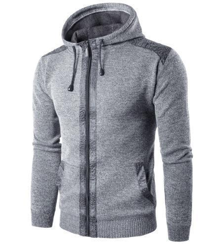 Fashion Slim Plain Zipper Knit Men's Hoodie