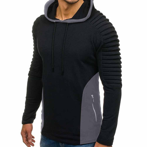 Fashion Personality Stitching Contrast Pleated Hoodie