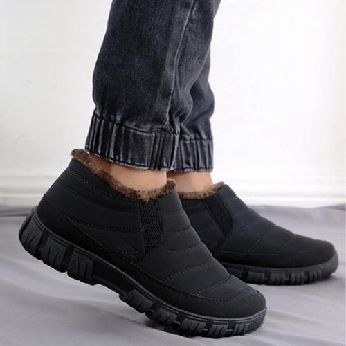Mens Cotton Boots Waterproof Warm Shoes