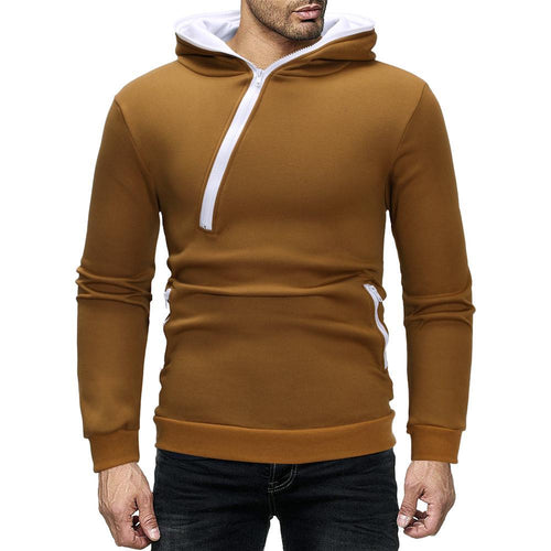 Men's Diagonal Zipper Design Fashion Hoodie