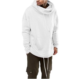 Fashion High Collar Plain Loose Cotton Padded Hoodie